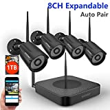 [1080P NVR] Security Camera System Wireless,Safevant 8CH 1080P NVR Wireless Security Camera System(1TB Hard Drive),4PCS 960P Indoors&Outdoors Wireless Security Cameras,Plug&Play,NO Monthly Fee