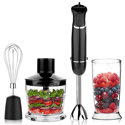 OXA-Smart-Powerful-4-in-1-Immersion-Hand-Blender-Set-Variable-6-Speed-Control-Includes-500ml-Food-Chopper-Egg-Whisk-and-BPA-Free-Beaker-600ml-Black