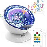 Night Light Projector Ocean Wave,Baby Nursery Music Night Lamp 12 LED and 7 Colors with Remote Control, Sleep Soothing Bedside Lamp Home Decor Light for Kids Gift (White)