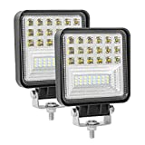 Zmoon 2 Pcs Led Pod lights 4in Led Light Bar, 126W 14400lm Waterproof Off Road Lights Spot & Flood Combo Beam Cube Led Lights for Off-road, ATV, SUV, Jeep and Truck etc.