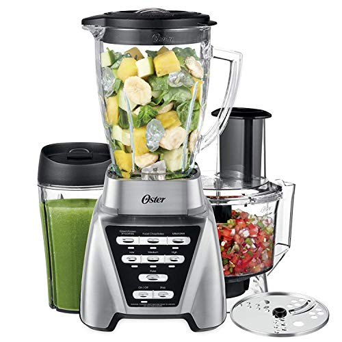 Oster Blender   Pro 1200 with Glass Jar, 24-Ounce Smoothie Cup and Food Processor Attachment, Brushed Nickel