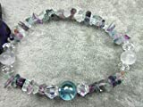 Genuine Aqua Aura Quartz, Selenite and Rainbow Fluorite Healing Bracelet