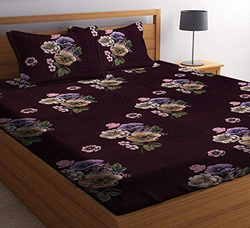 51ha1zPDyoL - HIYANSHI HOME FURNISHING Glace Cotton King Size Maroon Flower Design Double Bedsheet 180 TC with 2 Pillow Covers