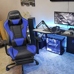 Homall Gaming Computer Office Ergonomic Desk Footrest Racing Executive Swivel Adjustable Rolling Task Chair, Blue