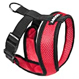 Gooby - Comfort X Head-in Harness, Choke Free Small Dog Harness with Micro Suede Trimming and Patented X Frame, Red, Medium