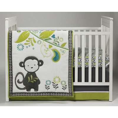 Baby Safari Monkey 4 Piece Crib Bedding Set