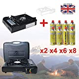 Raxter Portable Camping Gas Cooker Single Burner Stove Automatic Ignition System Enamel Pan Holder Butane BBQ Carry Bag Caravan Outdoor (Stove + 2 Gas Tins)