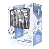 EDI Heavyweight'Looks Like Silver' Disposable Flatware 160 Piece (80 Forks 40 Spoons and 40 Knives)