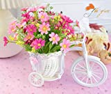 Xindda Large Rattan Tricycle Bike Flower Basket Vase Storage Party Decor,for Home Decor DIY Wedding Bouquets Centerpieces Bridal Shower Party Floral Home Decorations