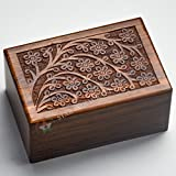 """Beautifully Handmade Tree of Life Engraved Wooden Cremation Urns for Human Ashes Adult by STAR INDIA CRAFT- Dark Brown INDIAN Rosewood Memorial Pet Urns for Dogs,Wood Box (Medium - 7 x 5 x 3.75"""")"""