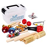 Kids Musical Instruments Toys,10 PCS-Rhythm Percussion Kit with Storage Box Tambourine Set