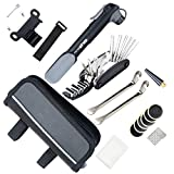 YOUYOUTE Bike Repair Kits with Pump, Mini Bicycle Pump 120 PSI with Smart Valve, Fits Schrader Presta, Bike Flat Tire Repair Tools with Bag