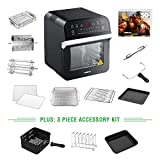 GoWISE USA 12.7-Quart 15-in-1 Electric Air Fryer Oven w/Rotisserie and Dehydrator + 13 Accessories and 50 Recipes for Your Air Fryer Oven Book (Black + Accessories)