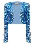 Product review for Anna-Kaci Womens Shiny Sequin Long Sleeve Cropped Blazer Bolero Shrug