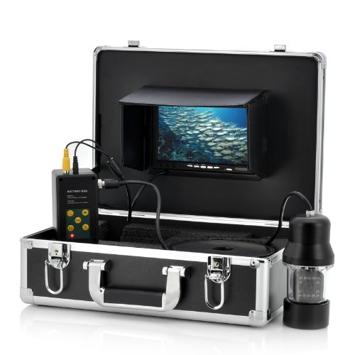 Fish Finder Anysun 1/3 Inch compatible with SONY CCD Underwater Fishing Camera - 360 Degree View, Remote Control, 7 Inch LCD Monitor, 14x White Lights