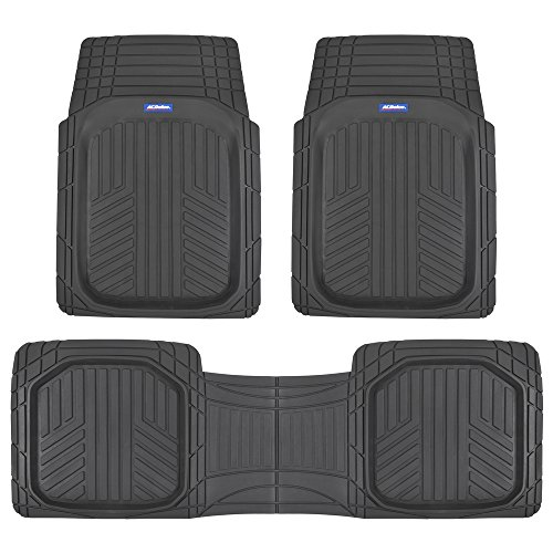ACDelco ACOF-933-BK Deep Dish All-Climate Rubber Floor Mats for Car SUV Van Truck Heavy Duty Liners-3 Piece Set Thick, Odorless & All Weather, Black