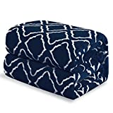 Bedsure Flannel Fleece Blanket Printed - Lattice Scroll - Blanket for Bed, Couch, Car, Office, Camping Travel and Gifts - Queen Size, 90' x 90', Navy