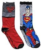 Hyp DC Comics Superman Character Men's Crew Socks 2 Pair Pack Shoe Size 6-12