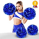 ANALAN 21 Colors Pack of 2 Foil Plastic Metallic Cheerleading Pom Poms for Cheer Sport Kids Adults(Blue)
