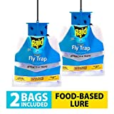 Raid Fly Traps (2-Pack), Outdoor & Indoor Fly Trap, Disposable Fly Trap Bag, House Fly Trap with Food-Based Attractant, Hanging Fly Bag, 2 Home Fly Trap Bags, Inside & Outside Fly Control for Home