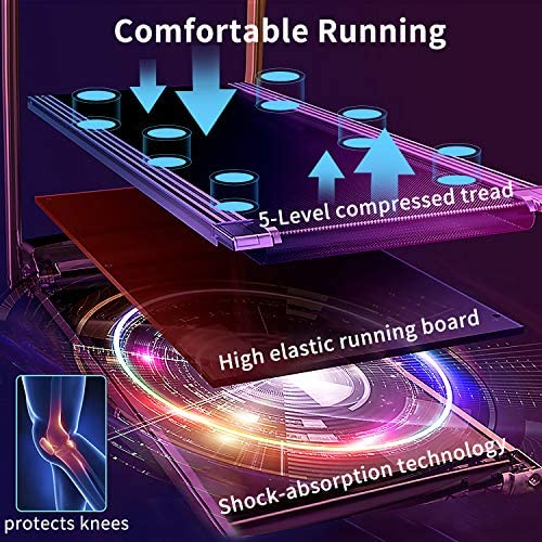 Electric Folding Treadmill for Small Spaces, Ultra-Quiet Portable Exercise Running Machine for Home Workout with 12 Programs & LCD Screen 3