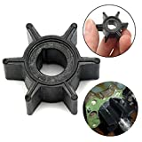 Udele-Store - 47-16154-3 Water Pump Impeller For Tohatsu/Mercury/Sierra 2/2.5/3.5/4/5/6HP Outboard Motor Rubber Diameter 3.4cm 6 Blades Black