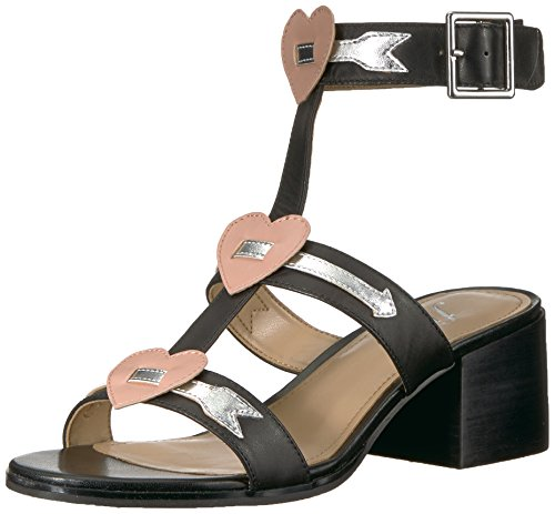 51hpFZjdeWL This block-heel gladiator sandal gets a kiss from Cupid featuring three straps adorned with hearts and gold-tone arrows Ankle strap with buckle closure