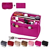 Purse Organzier, Bag Organizer with Metal Zipper (Large, Rosy)