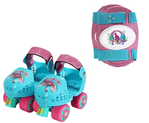 Playwheels Trolls Roller Skates with Knee Pads, Junior Size 6-12