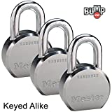 Master Lock - (3) High Security Pro Series Keyed Alike Padlocks 6230NKA-3 w/ BumpStop Technology