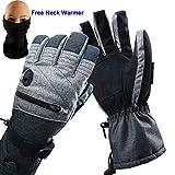 HighLoong Men Ski Snowboard Gloves Waterproof Melange Hand and Neck Warmer Set (M)
