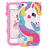 FunTeens Vivid Unicorn Case for Apple iPod Touch 6th 5th Generation 3D Cartoon Animal Cute Soft Silicone Rubber Protective Cover,Animated Stylish Cool Skin Shell for Kids Child Teens Girl(Touch 6/5th)