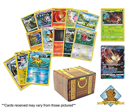 50 Pokemon Card Lot with 1 200 HP Or Higher Pokemon GX Ultra Rare! Pokemon Foils and 1 Holo Rare! Includes Golden Groundhog Treasure Chest Box!