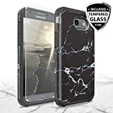 TJS Case Compatible for Samsung Galaxy J7 Sky Pro/Galaxy J7 Perx/Galaxy J7 V/Galaxy Halo/Galaxy J7 Prime, with [Tempered Glass Screen Protector] Dual Layer Hybrid Shockproof Armor Marble Cover (Black)