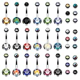 BodyJ4You 18PCS Belly Button Rings 14G Surgical Steel CZ Girl Women Navel 18 Replacement Balls Pack