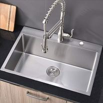 Commercial-28-inch-16-Gauge-Top-mount-Drop-in-Single-Bowl-Basin-Handmade-T304-Stainless-Steel-Kitchen-Sink-10-Inch-Deep-Brushed-Nickel-Kitchen-Sinks