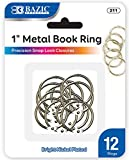 BAZIC Metal Book Rings, 1 Inch, Silver for School, Home, or Office (12 Per Pack)