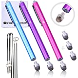 The Friendly Swede Replaceable Micro-Knit Tip Hybrid Stylus with Lanyards, Cloth and Replacement Tips (3 Pack) (Hot Pink + Light Blue + Purple)