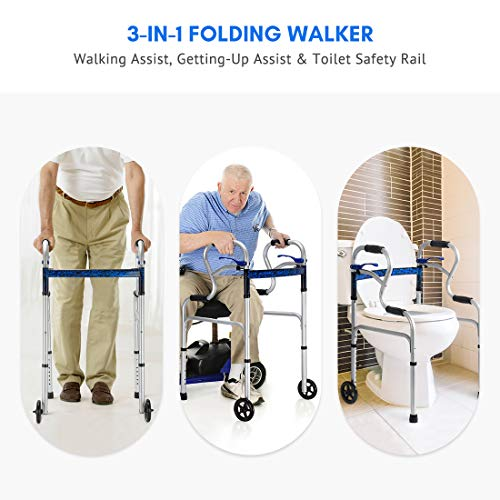 Health Line 3 in 1 Stand-Assist Folding Walker with Trigger Release and 5″ Wheels Supports up to 350 lbs, Compact Lightweight & Portable – w/Bonus Glides, Silver deal 50% off 51i 2BvV0ws3L