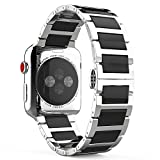 MoKo Compatible Band Replacement for Apple Watch 42mm 44mm Series 4/3/2/1, Stainless Steel Ceramics Link Replacement Strap Bracelet with Butterfly Buckle Clasp - Black (Not Fit iWatch 38mm 40mm)