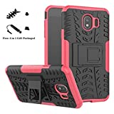 Galaxy J4 2018 case,LiuShan Shockproof Heavy Duty Combo Hybrid Rugged Dual Layer Grip Cover with Kickstand for Samsung Galaxy J4 2018 Smartphone (with 4in1 Packaged),Rose Red