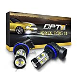 OPT7 CREE H11 LED DRL 5000K Bright White Fog Light Bulbs - Pack of 2