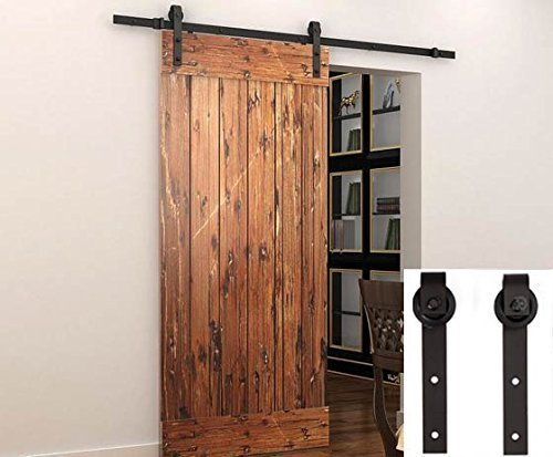 Penson & Co. Sliding Barn Door Hardware Set Black 6.6 FT - Antique Style
