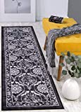 Antep Rugs Casa Azul Collection Geometric Floral Non-Skid (Non-Slip) Low Profile Pile Rubber Backing Indoor Area Runner Rug (Grey, 1'10' x 7')