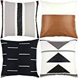 Woven Nook Decorative Throw Pillow Covers ONLY for Couch, Sofa, or Bed Set of 4 18x18 20x20 and 22x22 inch Modern Design 100% Cotton Black White Geometric Faux Leather Zulu Set (18'' x 18'')