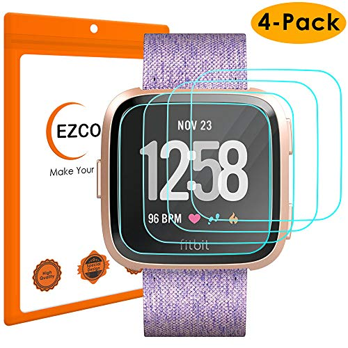 EZCO Compatible Fitbit Versa & Versa Lite Edition Screen Protector (4-Pack), Waterproof Tempered Glass Screen Protector Cover Saver Compatible Fitbit Versa Smart Watch Scratch Resist Anti-Bubble