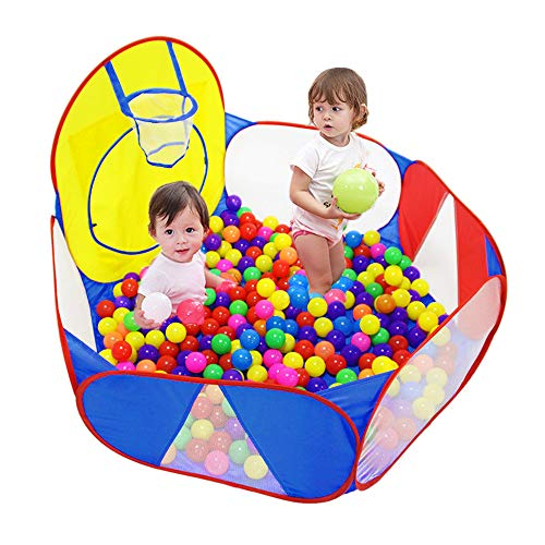 Eocol Kids Ball Pit Large Pop UpChildrens Ball PitsTentfor ToddlersPlayhouseBaby CrawlPlaypen with Basketball Hoop and Zipper Storage Bag, 4 Ft/120CM, Balls Not Included