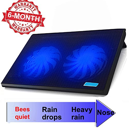 ThreeLeaf T102 10-15.6' Office Laptop Cooling Pad (Big 2Fans Super Quiet , Double Sides Built-in USB Line, Back Feet Stand)