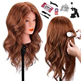 Mannequin Head with 100% Human Hair, TopDirect 18' Dark Brown Real Hair Cosmetology Mannequin Head Hair Styling Hairdressing Practice Training Doll Heads with Clamp Holder and Tools