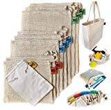 Big A Reusable Produce Bags | Organic Cotton Mesh | Recyclable | Tare Weight on Label | Double-Stitched Seams | Stainless Steel Clasp | Set of 9 (1 Grain - 2 Small - 3 Medium - 3 Large) with Tote Bag